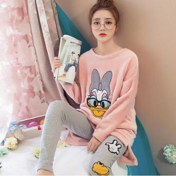 珊瑚绒睡衣女秋冬款可爱套头韩版法兰绒家居服女加厚