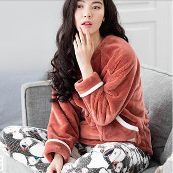 2016睡衣女冬季珊瑚绒加厚家居服法兰绒长袖休闲少女居家套装