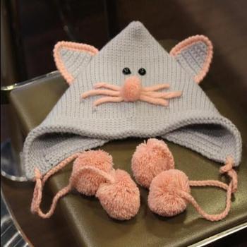 乐为 宝宝帽子秋冬季6-12个月婴儿帽子1-3岁儿童护耳帽小孩毛线帽男女