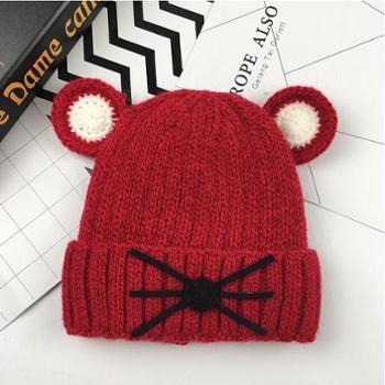 胜龙 儿童冬天可爱卡通毛线帽子 男童女童宝宝小孩 保暖加绒针织套头帽均码头围44-54cm