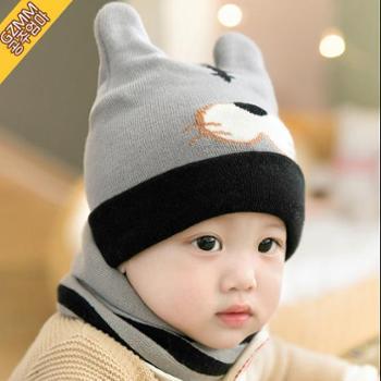 公主妈妈 宝宝帽子秋冬天6-12个月女婴儿帽子1-2岁小孩儿童毛线帽男童女童