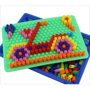 智慧魔盘蘑菇钉组合拼插板创意玩具拼图儿童益智力幼儿园3-6-8