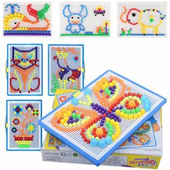 创意蘑菇钉拼图积木插板幼儿园手工DIY教具益智早教儿童玩具