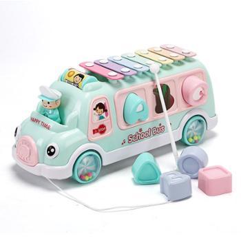 活石儿童巴士手敲琴八音琴宝宝敲击乐器 婴幼儿0益智2玩具1-3岁6个月薄荷绿柠檬黄
