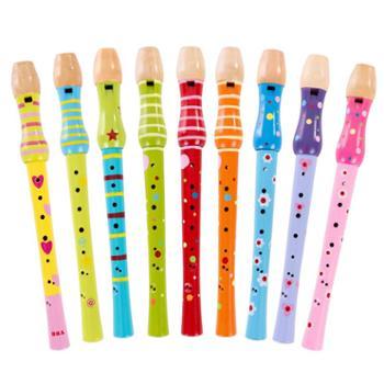 福孩儿 木制幼儿童笛子玩具 8孔竖笛小孩初学男女孩宝宝吹奏乐器