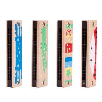 福孩儿榉木质16孔口琴儿童 婴幼儿男女孩小学生入门乐器初学者吹奏玩具