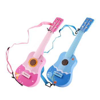 福孩儿木质六弦21寸吉他玩具 儿童乐器可弹奏尤克里里 男孩女孩音乐启蒙粉色蓝色