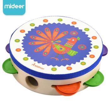 Mideer弥鹿 幼儿园宝宝玩具奥尔夫打击乐器铃鼓儿童木质启蒙铃鼓