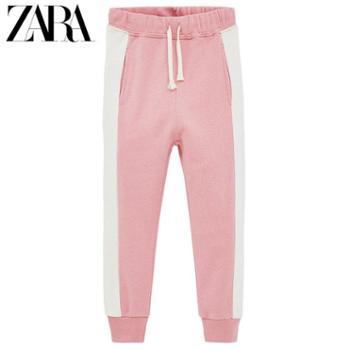 ZARA 新款 童装女童 粉色侧边带饰裤子 05431615620
