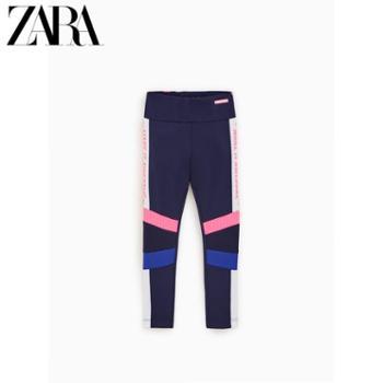 ZARA 新款 童装女童 海蓝色文字运动裤 00673123401