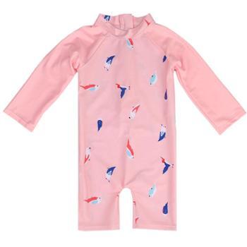 e/亦浪 宝宝泳衣儿童长袖女童防晒泳装小孩0-1-2-3-4-8岁幼儿婴儿游泳衣