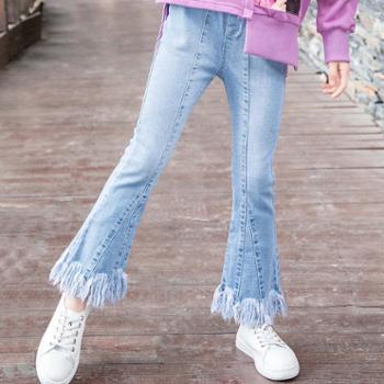 小魔仙女童牛仔裤长裤女童春装新款童装秋大童裤子女儿童喇叭裤洋气
