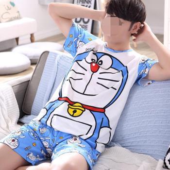 KISSINGME/姿馨美男士睡衣夏季纯棉短袖卡通青少年薄款全棉家居服学生套装