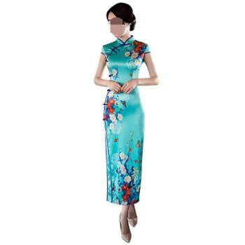 益佳红旗袍少女老上海复古走秀演出改良长款优雅中国风