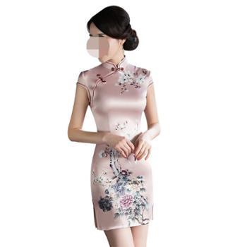 益佳红旗袍少女中国风日常改良版时尚复古短款式连衣裙