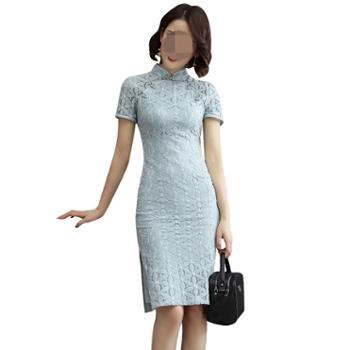 益佳红旗袍中国风改良蕾丝中长款日常性感礼服式连衣裙