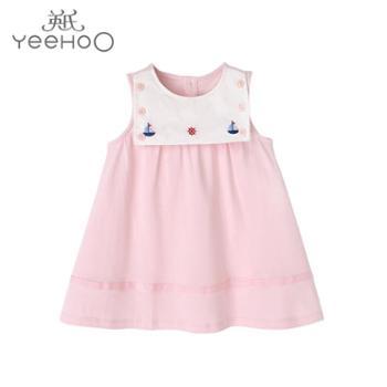 英氏女宝宝裙子女童夏季新款粉色公主风背心娃娃裙 10391039