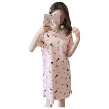 米度丽哺乳睡裙夏季薄款纯棉短袖哺乳连衣裙夏装时尚外出哺乳衣喂奶裙子