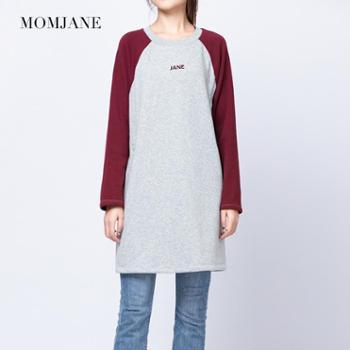 Mom Jane哺乳衣服外出秋冬装时尚产后喂奶连衣裙辣妈款加绒加厚保暖卫衣女