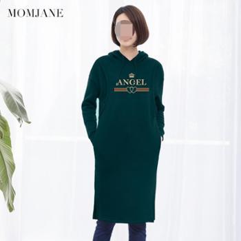Mom Jane哺乳衣外出冬装时尚连衣裙秋冬加绒加厚产后潮妈保暖卫衣喂奶衣服