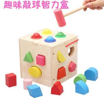 蒙氏早教教具 1-2-3岁儿童配对积木十三孔几何智力形状盒木制玩具