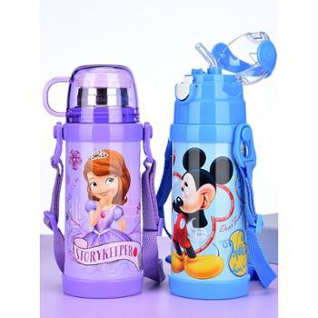 迪士尼儿童保温杯带吸管小学生不锈钢水壶男女幼儿园宝宝两用水杯