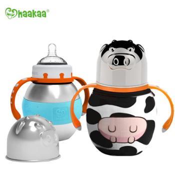 haakaa婴儿304不锈钢保温奶瓶两用宝宝宽口儿童带吸管手柄保温杯饮水杯