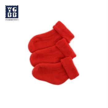 YBYGBB/英格贝贝婴儿袜子冬季加厚保暖棉袜宝宝新年圣诞袜大红儿童毛圈袜
