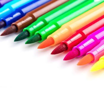 得力软头水彩笔36色24色软笔头水彩笔不可擦48色可洗水彩笔套装幼儿园儿童无画笔毒小学生水采涂鸦笔宝宝