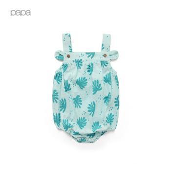 PaPa/爬爬夏季薄款男女宝宝纯棉包屁衣 婴儿吊带连体衣哈衣0-2岁
