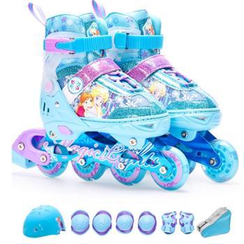 迪士尼溜冰鞋儿童全套装滑冰鞋男童滑轮鞋女童旱冰鞋初学者轮滑鞋