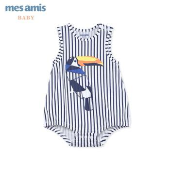 mesamis/蒙蒙摩米婴儿连体衣新生儿衣服夏季宝宝背心纯棉哈衣