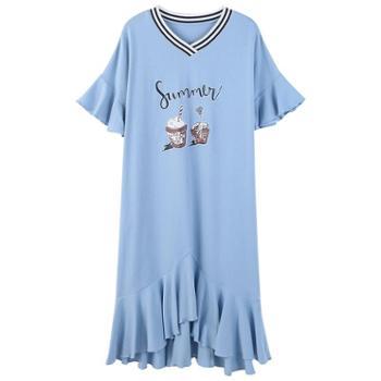 雪卡芬 莫代尔睡裙女夏季韩版清新学生纯棉睡衣宽松加大码胖mm夏天可外穿