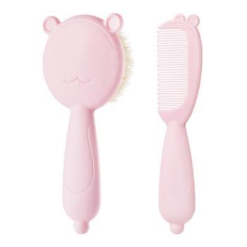 Hogokids/禾果婴儿新生儿宝宝儿童按摩软毛梳子头刷洗澡清洁羊毛梳去头垢刷