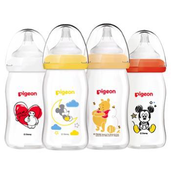 Pigeon/贝亲 宽口径玻璃迪士尼婴儿奶瓶160ml 配SS号奶嘴