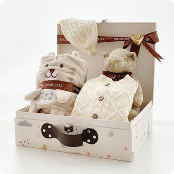 modomoma 新生儿用品婴儿礼盒宝宝春季加厚棉线衣服保暖连体衣满月送礼提箱