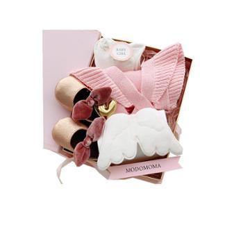 modomoma 新生儿用品婴儿礼盒宝宝纯棉秋季针织衫长袖三角哈衣套装