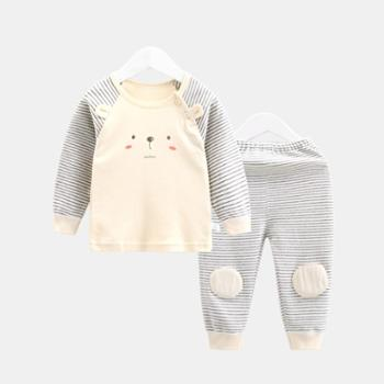 CICIIBEAR/齐齐熊 秋装宝宝纯棉内衣套装婴幼儿衣服卡通条纹睡衣两件套