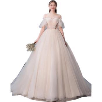 BORUIDIA/波瑞蒂亚森系轻婚纱新款新娘一字肩奢华拖尾礼服超仙梦幻