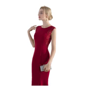 BORUIDIA/波瑞蒂亚敬酒服新娘新款夏季时尚鱼尾显瘦年会公主裙宴会晚礼服裙红色