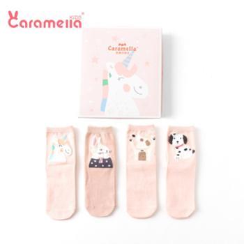 CARAMELLA 婴儿袜子春秋纯色女宝宝儿童中筒袜