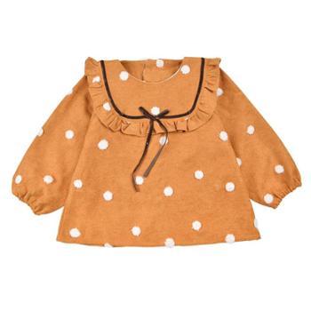 米豆酷尔 女孩吃饭罩衣防水反穿衣儿童长袖倒褂衣秋冬