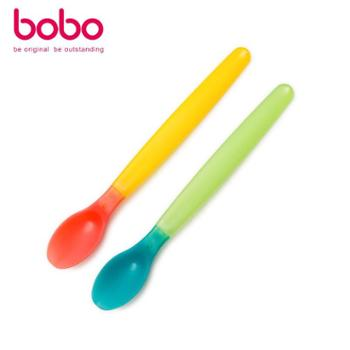 bobo婴儿勺子软头感温变色小勺宝宝米糊勺吃饭训练匙辅食喂养餐具