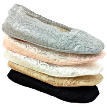 贝秀 蕾丝船袜女士春夏季薄款隐形袜袜套棉浅口硅胶防滑防掉短袜子女袜