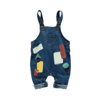 皮皮鸭(服饰) 宝宝背带裤牛仔裤子儿童春装男女小童裤子婴儿背带牛仔裤