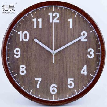 BOEERLCNL 挂钟客厅静音复古时钟客厅圆形仿木挂表现代简约创意钟表M7