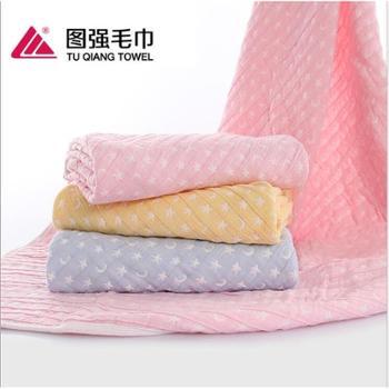 图强 婴儿纱布毛巾被 3层纱布星月童被 纯棉抱被 婴儿盖毯规格:100*115cm