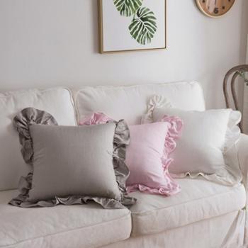 北欧现代简约纯色棉麻荷叶边沙发靠垫床头彩色靠包抱枕含芯