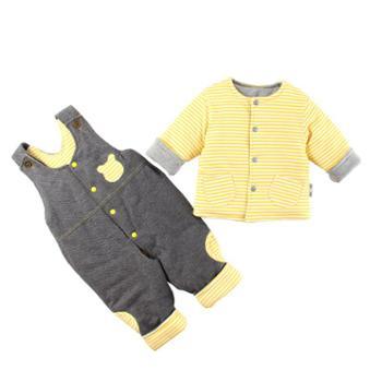依夏源新款婴儿秋冬装男女宝宝夹棉衣背带裤套装婴幼外出服长袖