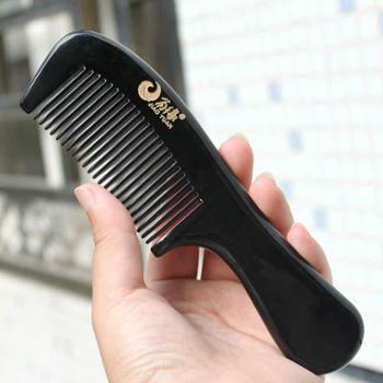 角缘正品 细宽齿二选一天然黑水牛角梳子 卷发梳 按摩保健梳